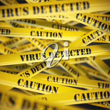 Virus detected yellow caution  tape background. Security concept. 3d illustration
