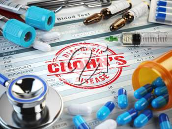 Crohns disease diagnosis. Stamp, stethoscope, syringe, blood test and pills on the clipboard with medical report. 3d illustration