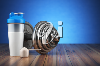 Dumbbell and whey protein shaker. Sports bodybuilding supplements or nutrition. Fitness or healthy lifestyle concept. 3d illustration