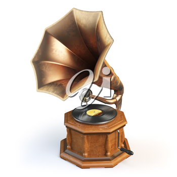 Vintage gramophone isolated on white. 3d illustration