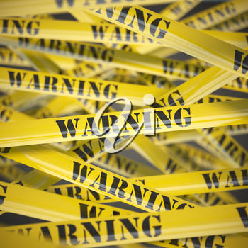 Warning yellow caution  tape background. Security concept. 3d illustration
