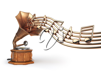 Vintage  gramophone with gold musical notes isolated on white. 3d illustration