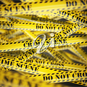 Crime scene yellow caution  tape background. Security concept. 3d illustration