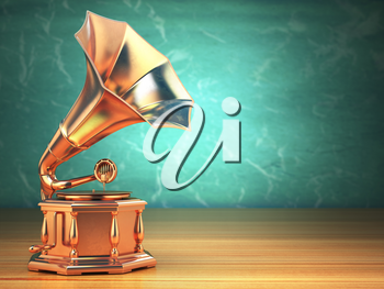 Gold vintage gramophone on green background. 3d illustration