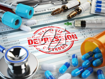Depression diagnosis. Stamp, stethoscope, syringe, blood test and pills on the clipboard with medical report. 3d illustration