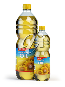 Sunflower or vegetable oil in plastic bottles isolated on white. 3d illustration