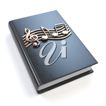 Music book with music notes and clef isolated on white background. 3d illustration