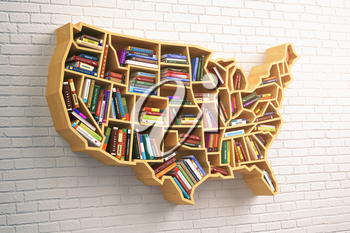 USA education or market of books concept. Book shelf  as map of USA. 3d illustration