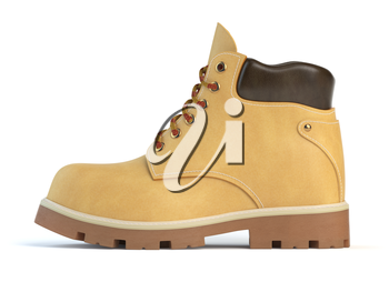 Yellow boot isolated on white background. 3d illustration