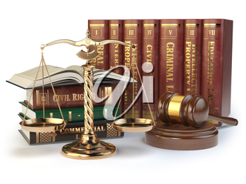 Gold scales of justice, gavel and books with differents field of law isolated on white background. Justice concept. 3d illustration