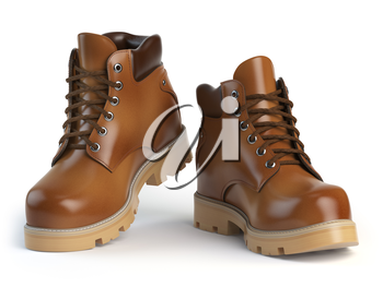 Brown man�s  boots isolated on white background. 3d illustration