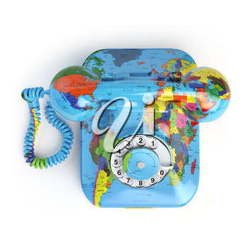 Global communication concept. Telephone with erth texture isolated on white. 3d illustration