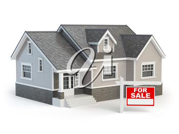 House and for sale real estate sign isolated on white. 3d illustration