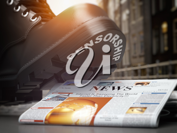 Media censorship and right of freedom of speech concept. Boot with text censorship  and pile of newspaper. 3d illustration