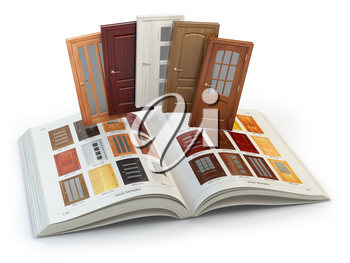 Selection o wooden doors by cataog with samples. Interior design and construction concept. 3d illustration