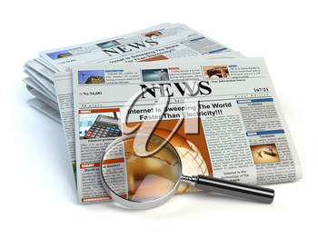 News concept. Newspapers and magnifying glass isolated on white. 3d illustration