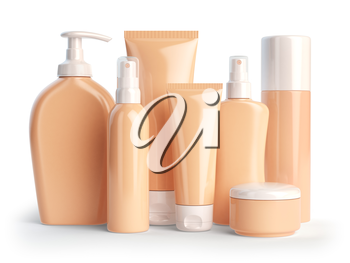 Set of cosmetic products.  Cosmetic series of different daily beauty care products isolated on white background. Containers for cream, ointment, lotion and soap. 3d illustration