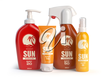 Sun screen cream,  oil and lotion containers. Sun protection and suntan cosmetics isolated on white background. 3d illustration