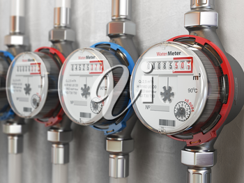 Row of water meters of cold and hot water on the wall background. 3d illustration