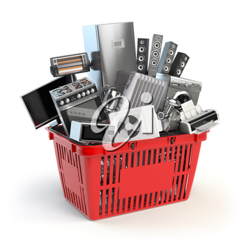 Kitchen appliances in the shopping basket. Online e-commerce concept. 3d illustration