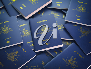 Passports of Australia background. Immigration or travel concept. Pile of australian passports. 3d illustration