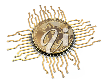 Bitcoin like a  CPU computer processor isolated on white background.  3d illustration