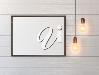 Mock up white blank poster or photo on wall and vintage light bulbs. 3d illustration