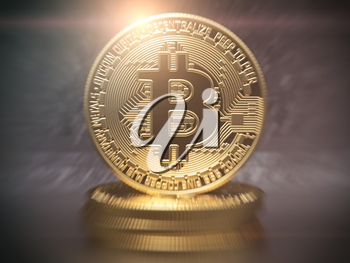 Bitcoin cryptocurrency golden coin background. 3d illustration