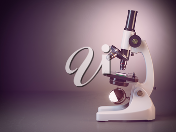 Microscope on grey  background. 3d render illustration