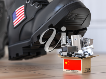 USA China technology war and market conflict.  Economic trade war concept. Cardbox with appliance made in China and american military boot above it. 3d illustration