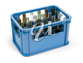 Empty bottles  in the strage crate for bottles. Glass recycling concept.3d illustration