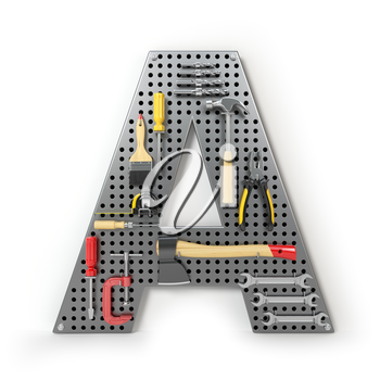Letter A. Alphabet from the tools on the metal pegboard isolated on white. 3d illustration