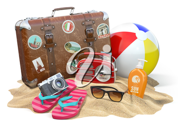 Beach accessories for relaxing. Sunscreen bottle, flip flops, sunglasses, radio camera and ball on the sand. 3d illustration