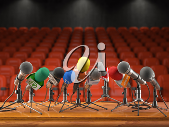Press conference or interview event concept. Microphones  of different mass media, radio, tv in conference hall with red seating for spectators. 3d illustration