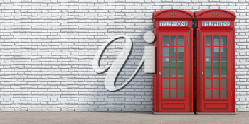 Red phone booth on brick wall background. London, british and english symbol. 3d illustration