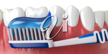 Human teeth and toothbrush with toothpaste. Oral hygiene concept. 3d illustration