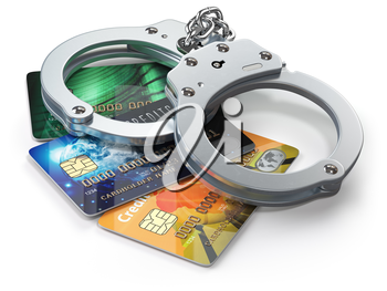 Credit card with handcuffs isolated on white background.  Banking financial crime  and accounting fraud concept. 3d illustration
