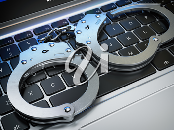 Handcuffs on the laptop keyboard. Internet cyber crime, hacking and online piracy concept. 3d illustration