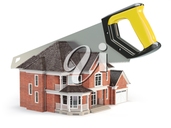 Saw is splitting a house isolated on white background.  Divorce and dividing a property concept. 3d illustration