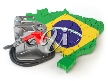 Gasoline and petrol consumption and production in Brazil. Map of Brazil with jerrycan and gas pump nozzle. 3d illustration
