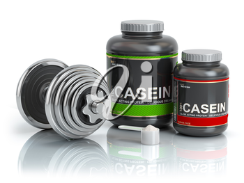 Casein protein with scoop and dumbbell.Bodybuilder nutrition(supplement) concept. 3d illustration.