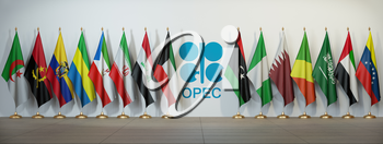 OPEC. Symbol and flags of OPEC countries. 3d illustration