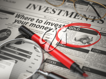 Gold is a best option to invest. Where to Invest concept, Investmets newspaper with loupe and marker. 3d illustration