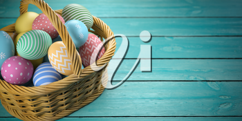 Easter eggs in a basket on the green wooden planks. 3d illustration