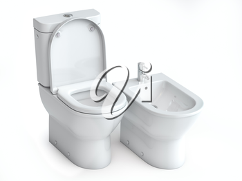 Toilet bowl  and bidet on white isolated background. 3d illuatration