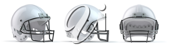 Set of white  american football helmets isolated on white background. 3d illustration