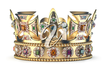 Gold crown with jewels isolated on white. 3d illustration