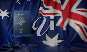 Australian passport on the flag of the Australia. Getting a australian passport,  naturalization and immigration concept. 3d illustration