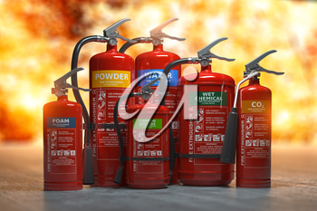 Fire extinguishers on a fire background. Various types and different sizes of extinguishers.
