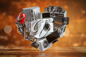 Household domestic appliances in the form of heart. Online shopping  concept. 3d illustration